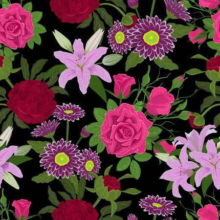 Floral Aquarell Vektor nahtlose Muster Hintergrund Standard-Bild - 96279939