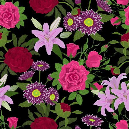 Floral watercolor vector seamless pattern background Vectores