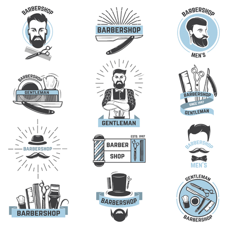 Barbershop logo vector set isolated on white background