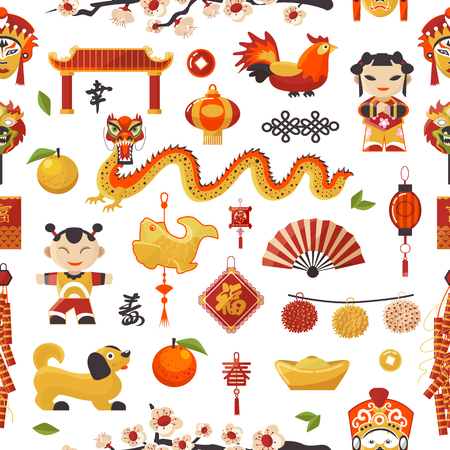 China New Year vector icons set decorative holiday.
