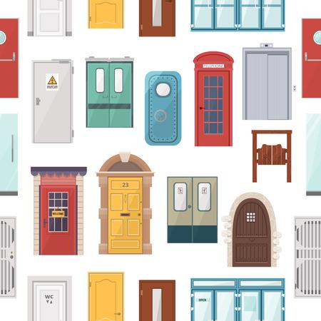 Doors vector set seamless pattern background