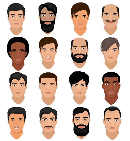 Man portrait vector set isolated on white background