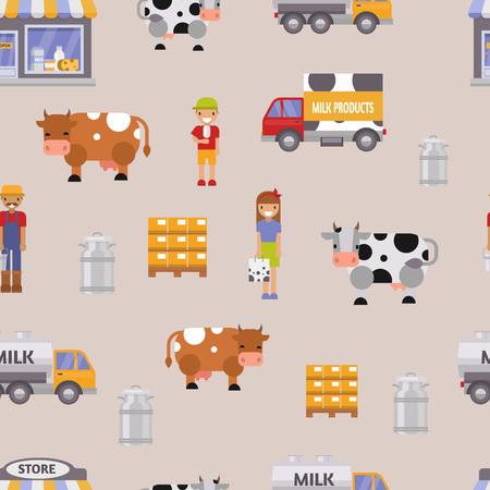 Vector illustration milk dairy farm seamless pattern background. Illustration