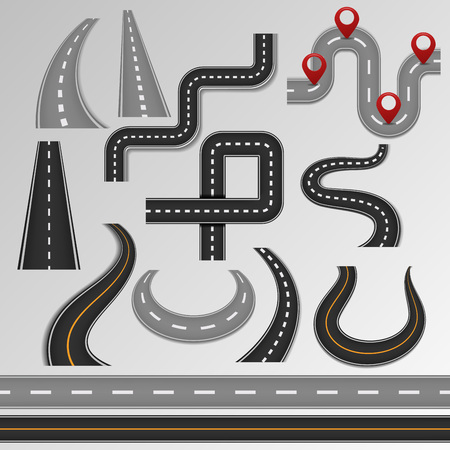 Road vector set isolated on background