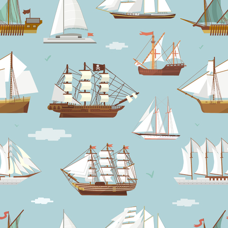Vector ship and boat seamless pattern background.