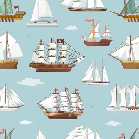 vecteur navire et bateau seamless pattern . fond