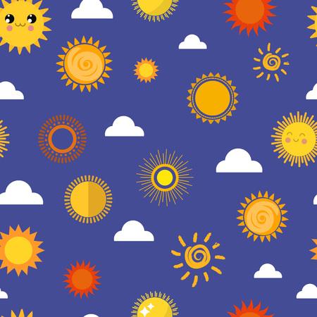 Sun vector seamless pattern background Illustration