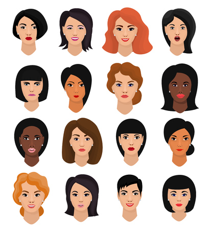 Woman portrait vector set isolated on white background Illustration