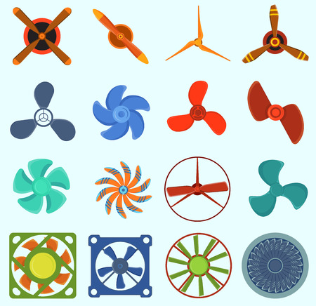 Fans and propellers vector technology icons isolated object. Illustration
