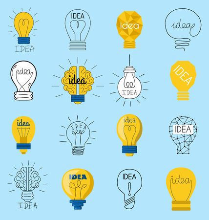 Sweet business idea light bulb concept creative vector icons design.