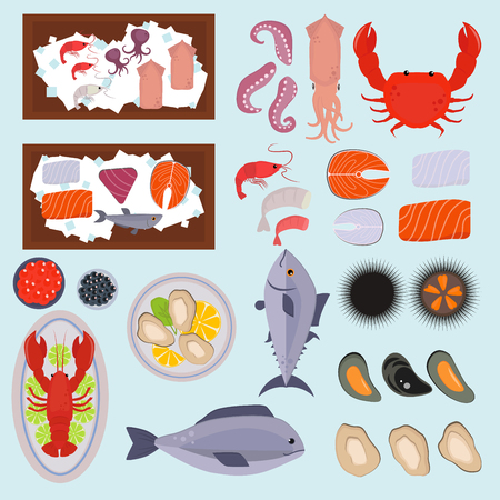 Seafood vector illustration set design flat fish and crab food oyster fresh seafood shrimp menu sea food octopus animal shellfish