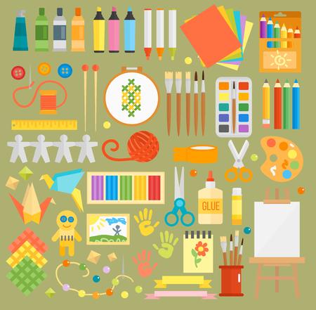 Art stickers seamless pattern vector colorful paper scrapbook drawing paints brushes notebook pen. Artist creative work for brain kids creativity Çizim