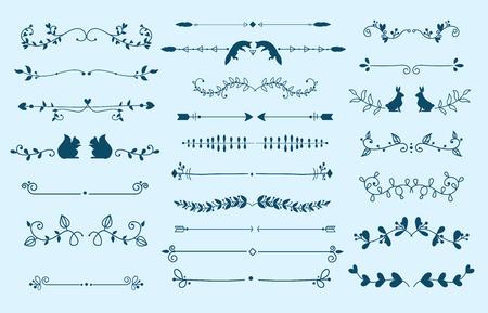 Divisor de texto vector grunge elemento separadores de texto decoración gran selección de diversos editables. Divisores elementos para roturas libros separadores texto separadores decoración estilo vintage diseño