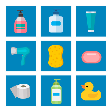 Cosmetic bathroom bottles of household chemicals supplies cleaning housework plastic detergent liquid domestic fluid cleaner pack vector illustration. Illustration