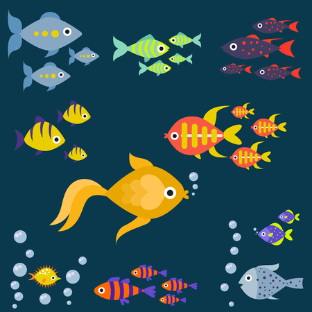 Aquarium ocean fish underwater bowl tropical aquatic animals water nature pet characters vector illustration