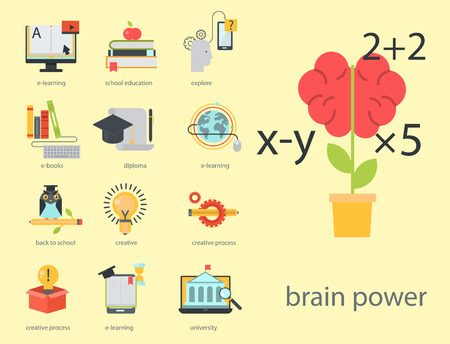 Distant learning flat design online education video tutorials staff training store learning research knowledge vector illustration. Archivio Fotografico - 96277987
