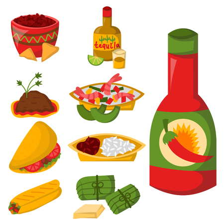 Mexican traditional food with meat avocado tequila corn spicy pepper salsa lunch sauce cuisine vector illustration 일러스트