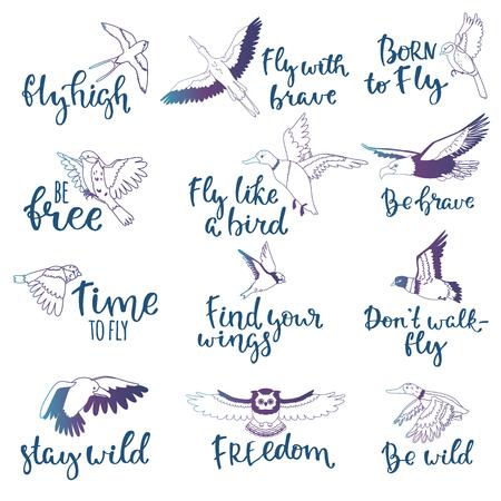 Handwritten Quotes with birds symbol design set  イラスト・ベクター素材