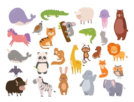 Leuke dierentuin cartoon dieren geïsoleerd grappige dieren in het wild leren leuke taal en tropische natuur safari zoogdier jungle lange karakters vector illustratie.