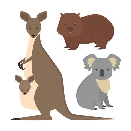 Australian wild animals cartoon vector illustration set