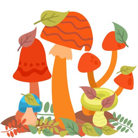 Mushrooms fungus agaric toadstool different art style design fungi vector illustration red hat Illusztráció