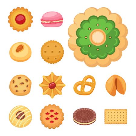 Different cookie cakes top view sweet food tasty snack biscuit sweet dessert vector illustration. Stock Vector - 96362451