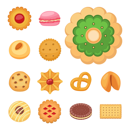 Different cookie cakes top view sweet food tasty snack biscuit sweet dessert vector illustration. Illustration