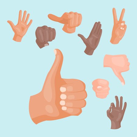 Hands signs for deaf-mute vector illustration