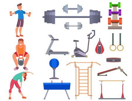 Fitness gym vector icons set