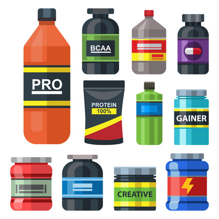 Bodybuilders gym athlete sport food diet symbols fitness nutrition protein powder drink vector illustration. Фото со стока - 96362454