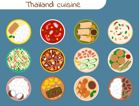 Traditional thai food asian plate cuisine thailand seafood prawn cooking delicious vector illustration. Foto de archivo - 96362455