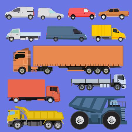Trucks set vector illustration