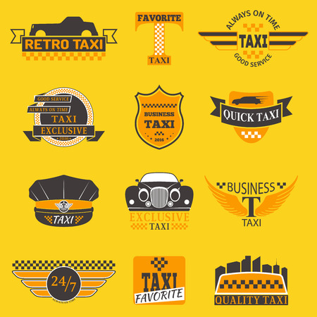 Taxi logos vector label badge templates design elements text and image.Taxi car service business company sign template corporate icon identity design object  イラスト・ベクター素材