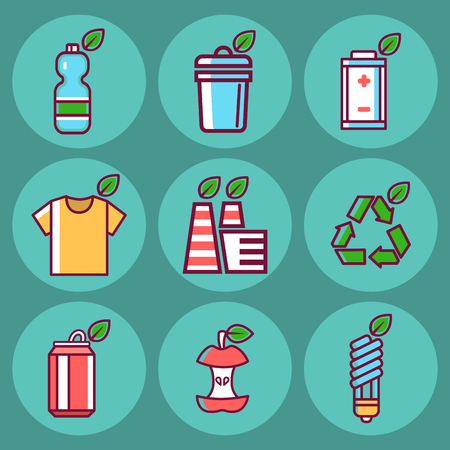 Waste rubbish vector pollution ecology recycling set outline eco energy concept garbage disposal trash illustration  イラスト・ベクター素材