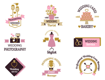 Wedding vector photo or event agency logo badge camera photographer vintage template illustration.
