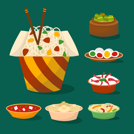 Chinese cuisine traditional food vector illustration