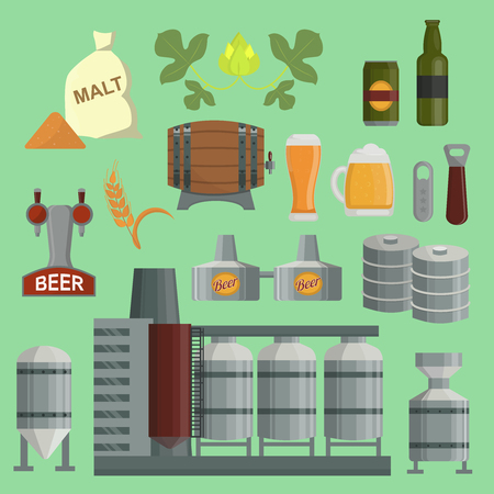 Beer brewing process factory vector flat style beer production keg, hops, plant opener brewing process elements.  イラスト・ベクター素材
