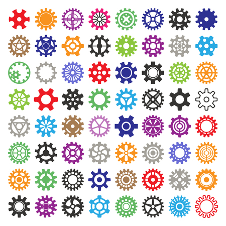 Gear vector mechanism icons isolated illustration. Mechanics web development shape work cog multicolor gear sign.