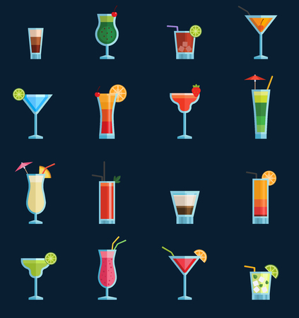 Alcoholic cocktails drinks vector fruit cold cosmopolitan, b-52, mohito, vodka freshness alcohol collection and party sweet tequila night club recipes illustration isolated.