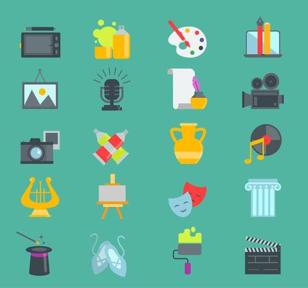 Artistic creator graphic designer icons vector set flat design illustration. Camera, picture, brush palette entertainment symbols. Artist ink graphic color creativity design movie collection. Illustration