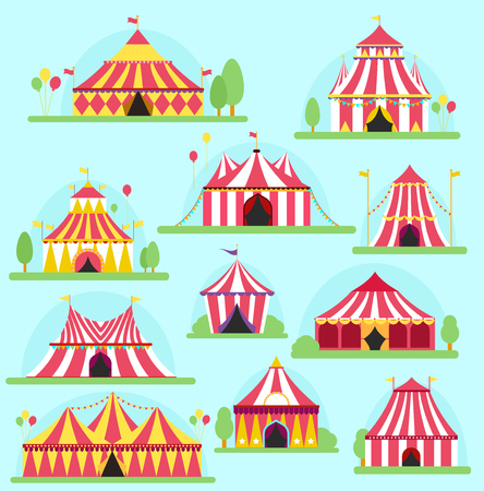 Circus tent vector illustration set  イラスト・ベクター素材