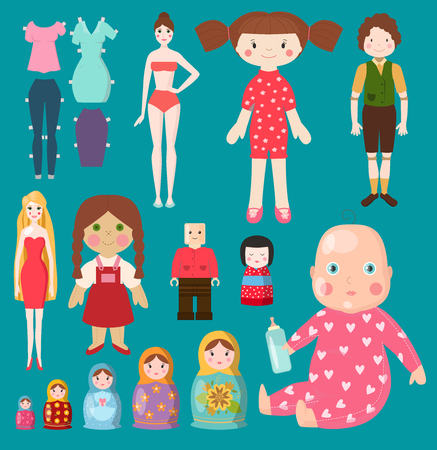 Different types of doll vector illustration set