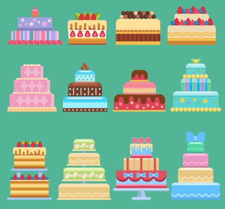 Different types of Wedding cake vector  set Illustration