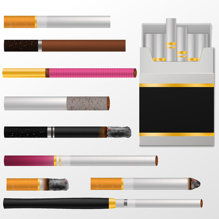 Cigarette vector cigar with nicotine in cigarette-box or cigar-case and smoking tobacco. Illustration set of cigarette-ends, isolated on white background. Vettoriali