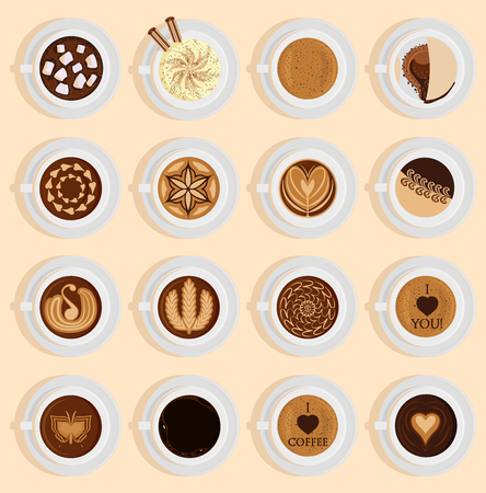 Coffee vector top view realistic drink different coffee recipe like cappuccino, chocolate, latte on cup blackboard. Coffee cups for menu assortment top side collection aromatic beverage.