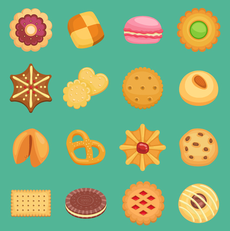 Sweets vector cookie cakes tasty snack delicious with chocolate cream homemade pastry biscuit isolated on background cookie set traditional gourmet sweet dessert bakery pretzel, croissant, macaroon. Çizim