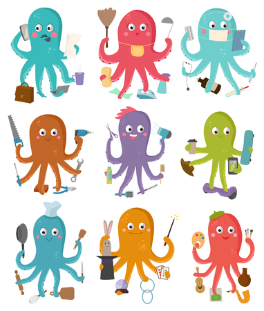 Octopus occupation vector illustration cartoon octopi character of businessman constructor or housewife doing multiple tasks set of doctor artist or chief-cooker octopuses isolated on white background Vettoriali