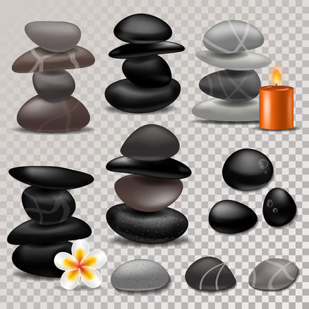 Spa stone vector zen stony therapy for beauty health and relaxation illustration of natural stoning treatment set isolated on transparent background