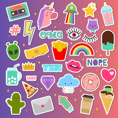 Patch stickers, vector sticky patching badge or embroidery for patchwork. Illustration set of patchy cartoon heart, rainbow or unicorn. Isolated on background. Standard-Bild - 96840542