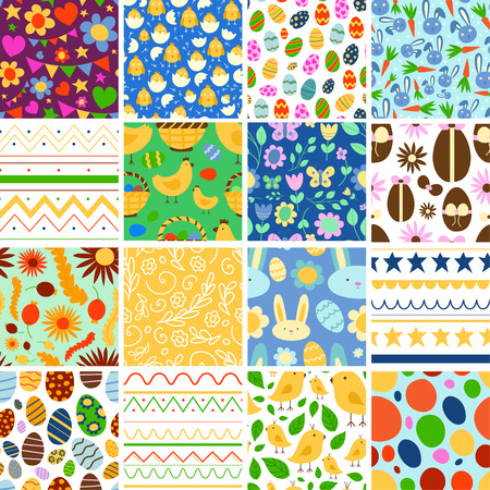 Vector Easter spring traditional background seamless pattern illustration with egg card design Easter holiday celebration party wallpaper greeting colorful rabbit and natural elements fabric textile Illustration